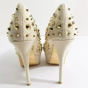 Alba Shoes - ALBA Gold Studded Platform Heels